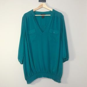 Lane Bryant Teal Two Pocket Elastic Hem Blouse